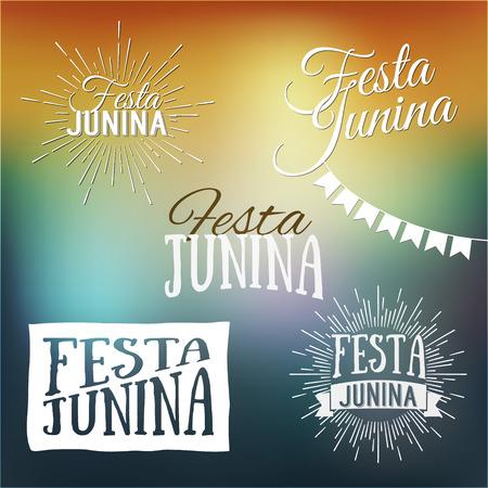 midsummer: Festa Junina set of logos, emblems and labels - traditional Brazil june festival party - Midsummer holiday. Latin American holiday, the inscription in Portuguese Festa Junina. Vector illustration.