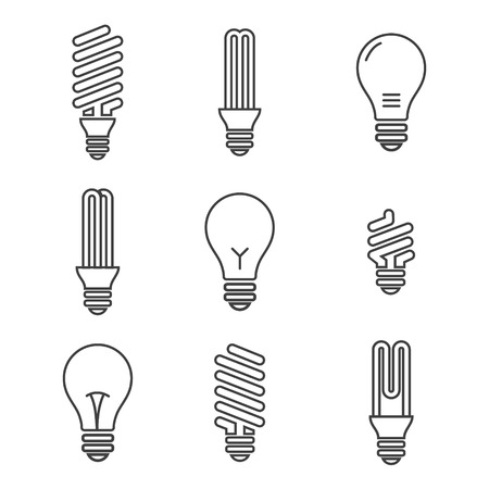 lamp power: Light bulbs. Bulb icon set. Isolated on white background. Electricity saving
