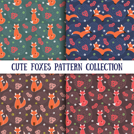fox: Cute foxes with flowers. Set of Seamless patterns. Vector illustration.