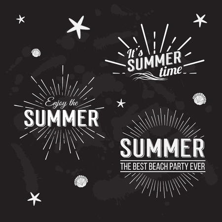 Retro elements for Summer calligraphic designs. All for Summer holidays, tropical paradise, sea, sunshine, weekend tour, beach vacation, adventure labels. Vintage ornaments. Vector illustration
