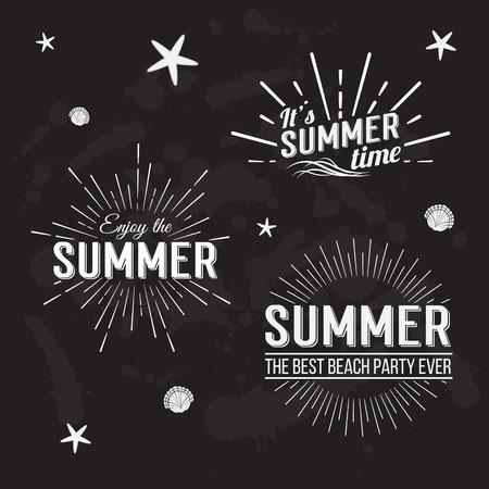 sol radiante: Elementos retros para los diseños caligráficos de verano. Todo para las vacaciones de verano, paraíso tropical, el mar, el sol, visita de fin de semana, vacaciones en la playa, etiquetas de aventura. Ornamentos de la vendimia. Ilustración vectorial