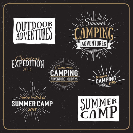 outdoors: Set of vintage summer camp badges and other outdoor emblems and labels. Camping Vector Calligraphy Design Elements in Retro style Illustration