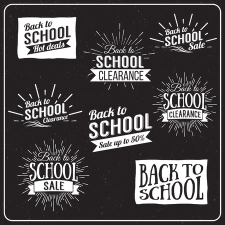 typography: Back to School Typographic - Vintage Style Back to School Hot Deals Design Layout In Vector Format Illustration