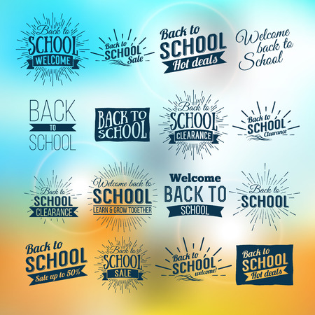 cool background: Back to School Typographic - Vintage Style Back to School Hot Deals Design Layout In Vector Format Illustration