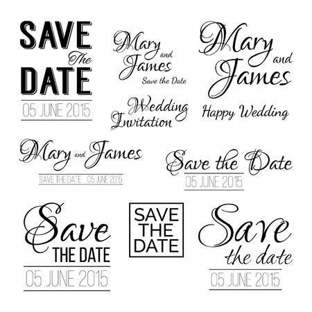 Sparen de datum. Set van trouwkaart vintage typografisch ontwerp elementen
