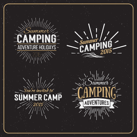 scouts: Set of vintage summer camp badges and other outdoor, emblems and labels. Camping Vector Calligraphy Design Elements in Retro style Illustration