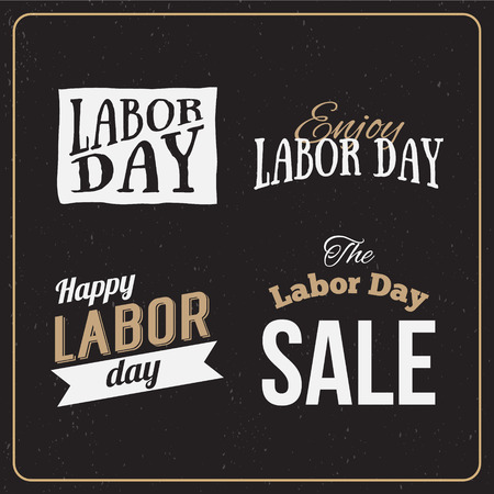 labor day: Vector Illustration Labor Day a national holiday of the United States. American Labor Day Sale designs set. A set of retro typographic logos.