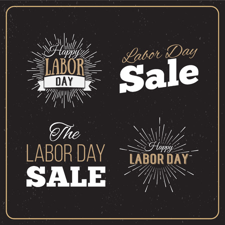 празднование: Векторные иллюстрации День труда национальный праздник США. Американский День труда конструкций Продажа установить. Набор ретро типографских логотипов. Иллюстрация
