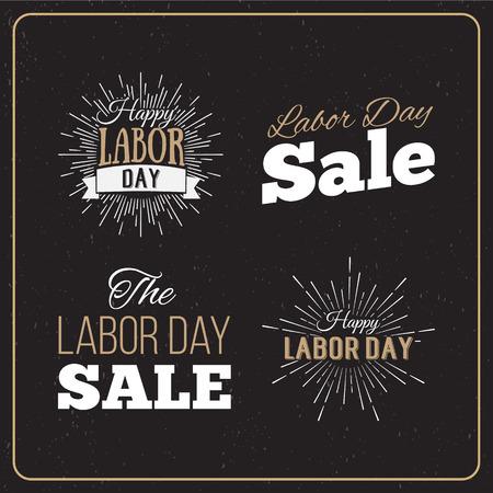 celebra: Ilustración vectorial Día del Trabajo un día de fiesta nacional de los Estados Unidos. Día Americano del Trabajo diseños Venta fijadas. Un conjunto de logotipos tipográficos retro.