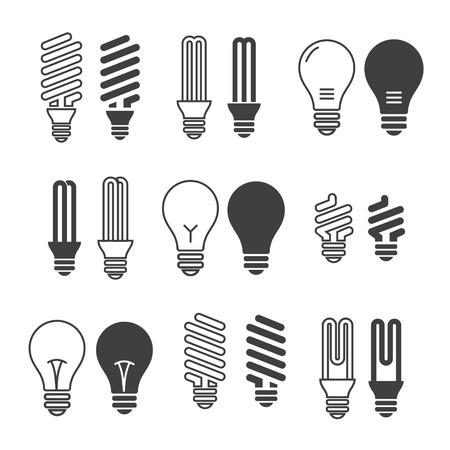 eficiencia: Bombillas. Icono del bulbo establecido. Aislado en el fondo blanco. Ahorro de electricidad