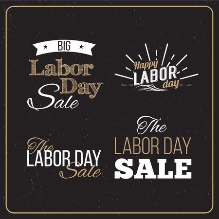 Illustration Vecteur la fête du Travail une fête nationale des États-Unis. American Labor Day Sale scénographies. Un ensemble de logos typographiques rétro. Banque d'images - 44206765