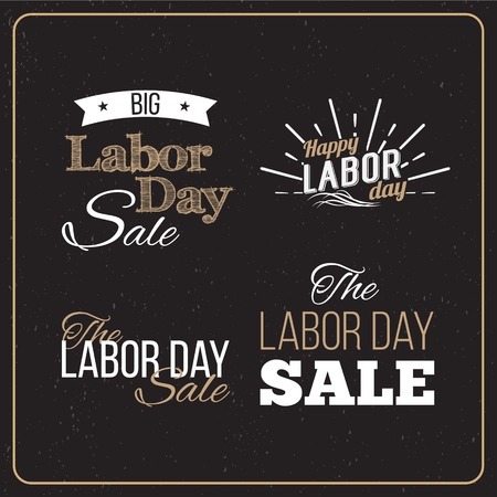 Vector Illustration Labor Day a national holiday of the United States. American Labor Day Sale designs set. A set of retro typographic logos.