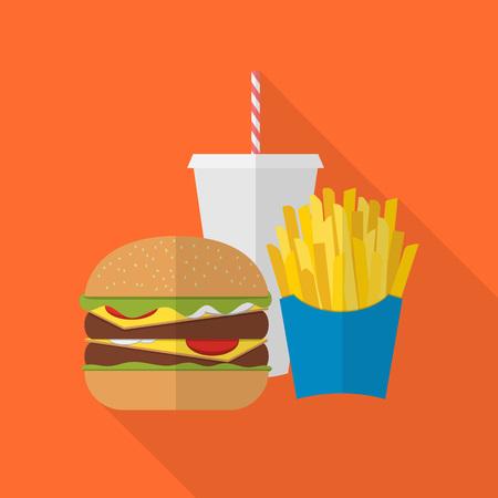 comida chatarra: Papas fritas, hamburguesa de almuerzo y comida para llevar refrescos. Diseño plano. Bebida gaseosa, perro caliente, hamburguesa, hamburguesa y otros elementos del menú del restaurante. Vector del cartel de la comida rápida poco saludable Vectores