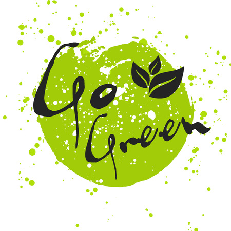Go Green Eco icon with leaf, vector bio sign on watercolor stain with watercolor spots. Vector banner of ecology concept with leaves. Watercolor poster with natural organic foo concept. Illustration