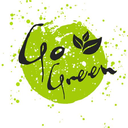medio ambiente: Ir Icono verde de Eco con la hoja, el vector bio muestra en la mancha de acuarela con manchas de acuarela. vector de la bandera del concepto de la ecología con las hojas. cartel de la acuarela con el concepto foo orgánica natural.