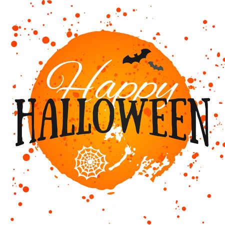 Affiche Halloween heureux sur fond d'aquarelle lumineuse avec des taches et les chutes. Vecteur de bannière Happy Halloween avec des éléments de halloween. Les chauves-souris, toile d'araignée. Banque d'images - 45117715