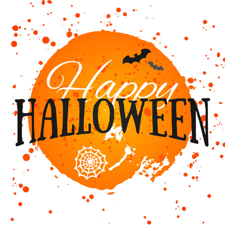 Happy Halloween Poster on bright watercolor background with stains and drops. Vector Illustration of Happy Halloween banner with halloween elements. Bats, spiderweb. Vectores