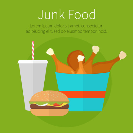 baked potato: Lunch chicken bucket, burger and soda takeaway. Fast food. Junk food. Flat design. Fizzy drink, hot dog, cheeseburger, hamburger and other restaurant menu elements. Vector poster of unhealthy food Illustration