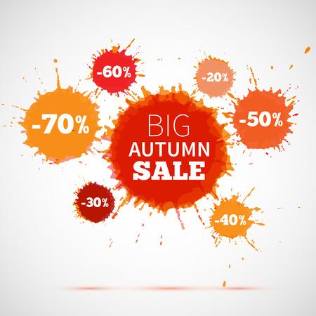 販売バッジ、秋の販売ラベル、秋の販売バナー。ベクトル インク飛散と水彩のバナーです。販売秋ポスター。ベクトルの図。特別オファーです。大