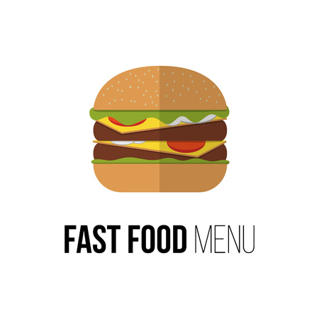 food products: Burger vector concept. Design element for restaurant menu illustration or for logotype. Flat design of food. Diet and unhealthy eating habits illustration. Hamburger, cheeseburger poster