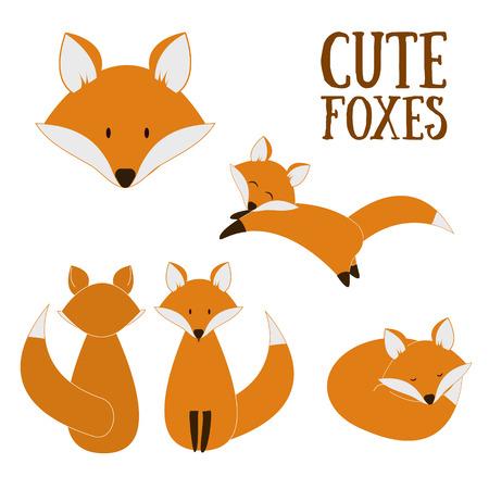 Reeks leuke vossen. Vector cartoon fox geïsoleerd op wit. Zitten, slapen, springen vos. Platte ontwerp illustratie.