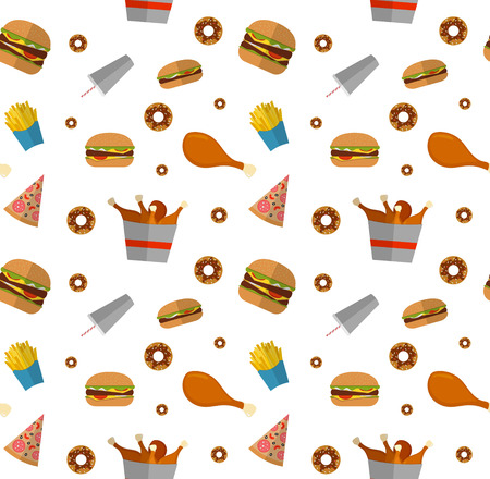 fry: Fast food seamless pattern design isolated on white. Illustration of Flat style unhealthy food, diet or restaurant menu elements. Hamburger, cheeseburger, fried chicken, french fries, pizza, donut.