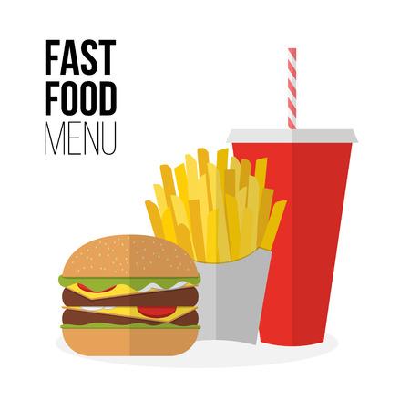 gaseosas: Papas fritas almuerzo, hamburguesas y comida para llevar de soda aislados en blanco. Diseño plano. Bebida gaseosa, perro caliente, hamburguesa, hamburguesa y otros elementos del menú del restaurante. Vector del cartel de la comida rápida poco saludable Vectores