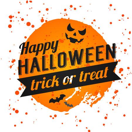 Affiche Halloween heureux sur fond d'aquarelle lumineuse avec des taches et les chutes. Vecteur de bannière Happy Halloween avec des éléments de halloween. Les chauves-souris, toile d'araignée, citrouille avec visage. Banque d'images - 45117513