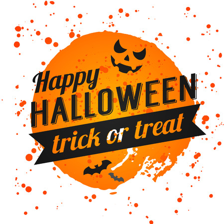 Happy Halloween Poster on bright watercolor background with stains and drops. Vector Illustration of Happy Halloween banner with halloween elements. Bats, spiderweb, pumpkin with Face. Vectores