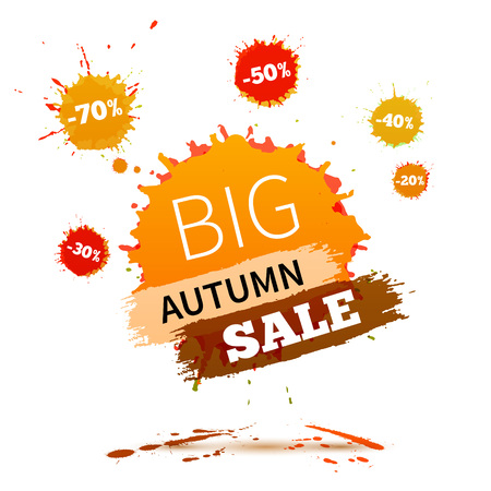 autumn fashion: Sale badge, autumn sale label, autumn sale banner. Vector watercolor banner with ink splashes. SALE autumn poster. Vector illustration. Special offer. Big autumn sale banner.