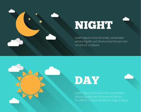 태양, 달과 별, 구름 아이콘. 낮과 밤 하늘 벡터 배너. 긴 그림자 플랫 스타일 그림. 하루 시간 개념 포스터.