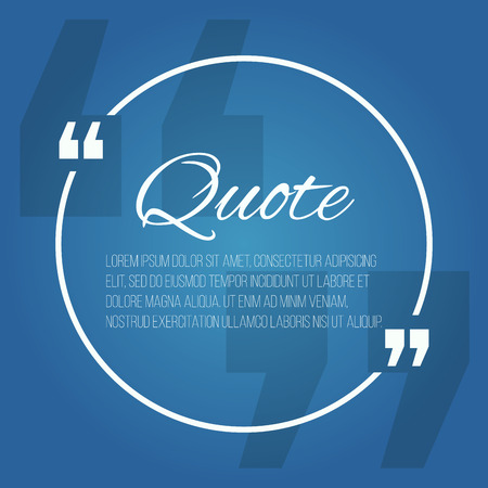 Quote blank with text bubble with Commas. Vector template for note,message, comment. Dialog box. Çizim