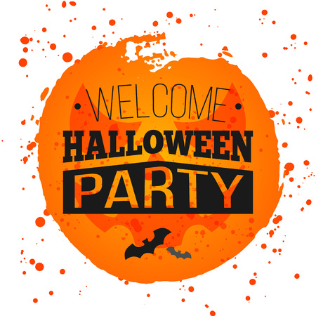 spiderweb: Happy Halloween Poster on bright watercolor background with stains and drops. Vector Illustration of Happy Halloween banner with halloween elements. Bats, spiderweb. Illustration