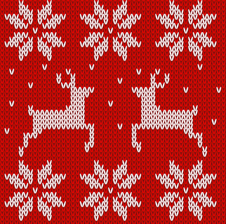 Red Knitted deers and stars sweater in Norwegian style. Knitted Scandinavian ornament. Vector seamless pattern Illustration