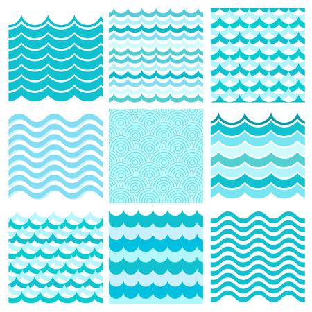 Colección de olas marinas. Ondulado mar, diseño agua arte del océano. Ilustración vectorial