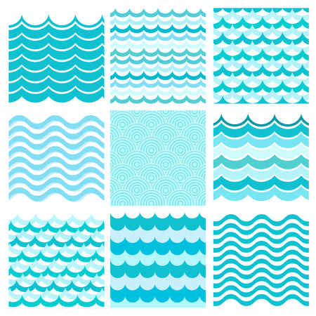 sea  ocean: Collection of marine waves. Sea wavy, ocean art water design. Vector illustration Illustration