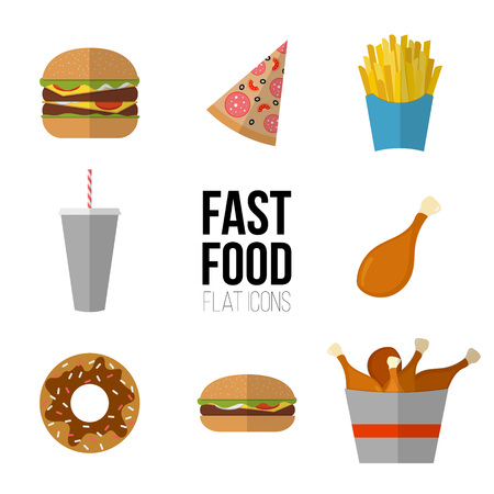 Disegno dell'icona di fast food. Icone piane di alimenti industriali isolati su bianco. Illustrazione di elementi di menu malsano cibo, dieta o ristorante. Hamburger, cheeseburger, pollo fritto, patatine fritte, pizza, ciambella.