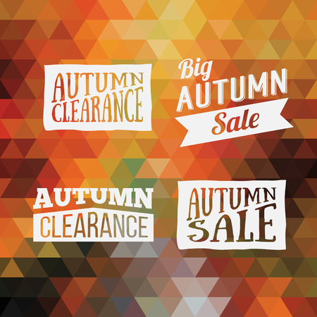 fall leaves: Colorful geometric background card with set of autumn sale logos. Vintage autumn geometric clearance banner. Vector Orange Poster.