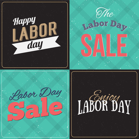 national holiday: Set of Vector Illustrations Labor Day a national holiday of the United States. American Happy Labor Day design poster. Labor day sale promotion advertising banner design. American labor day wallpaper. Illustration