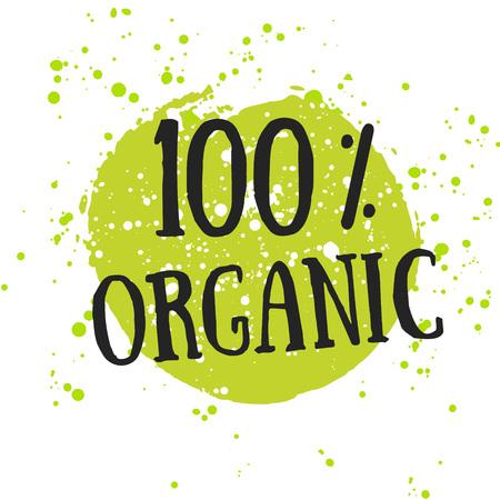 Eco icône avec la feuille, signe vecteur bio sur aquarelle tache avec des taches d'aquarelle. Vector banner 100% conception organique naturel avec des feuilles. Affiche d'aquarelle avec le concept biologique d'aliments naturels. Vecteurs