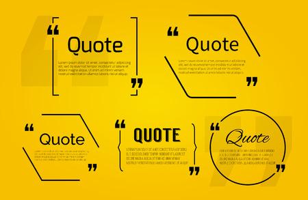 sjabloon: Citeren lege met tekst bel met komma's. Vector sjabloon voor noot, bericht, commentaar. Dialoogvenster.