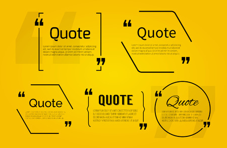 Quote blank with text bubble with Commas. Vector template for note,message, comment. Dialog box. Ilustracja