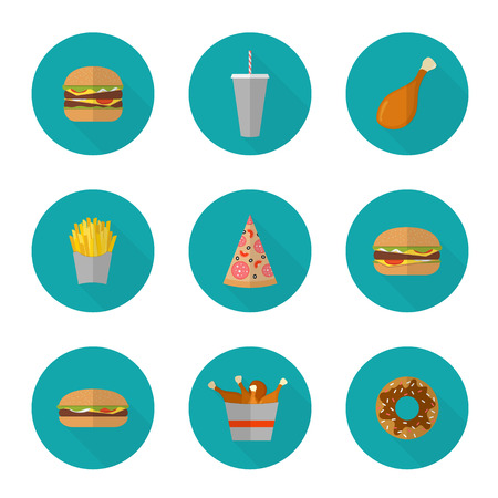 junk: Fast food icon design. Flat icons of junk food isolated on white. Illustration of unhealthy food, diet or restaurant menu elements. Hamburger, cheeseburger, fried chicken, french fries, pizza, donut. Illustration