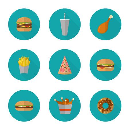 logotipos de restaurantes: Rápido diseño de iconos de alimentos. Iconos planos de la comida basura aislados en blanco. Ilustración de los alimentos, la dieta o el menú del restaurante elementos no saludables. Hamburguesa, hamburguesa con queso, pollo frito, papas fritas, pizza, dona.