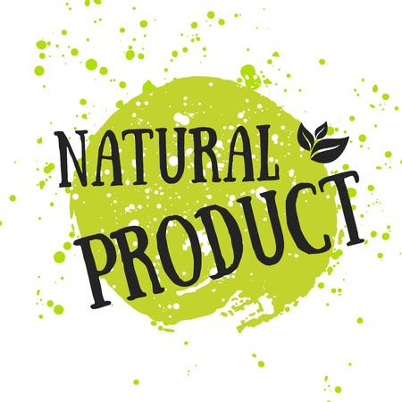 logo recyclage: Eco icône avec la feuille, signe vecteur bio sur aquarelle tache avec des taches d'aquarelle. Vector banner 100% conception organique naturel avec des feuilles. Affiche d'aquarelle avec le concept biologique d'aliments naturels.