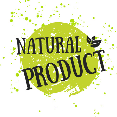recycling logo: Eco icon with leaf, vector bio sign on watercolor stain with watercolor spots. Vector banner 100% natural organic concept with leaves. Watercolor poster with natural organic food concept. Illustration