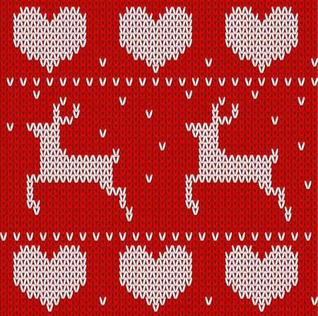 Vector pattern: Nai dệt kim màu đỏ áo len trong phong cách của Na Uy. Dệt kim trang trí Scandinavian. Vector hoa văn liền mạch