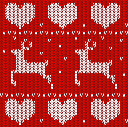 knitted fabrics: Red Knitted deers sweater in Norwegian style. Knitted Scandinavian ornament. Vector seamless pattern