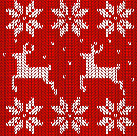 knitted fabrics: Red Knitted deers and stars sweater in Norwegian style. Knitted Scandinavian ornament. Vector seamless pattern Illustration
