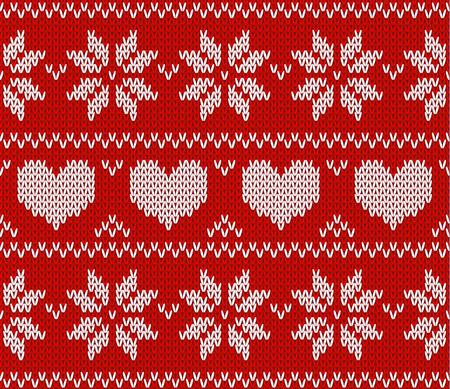 sueter: Estrellas rojas de punto suéter en estilo noruego. De punto ornamento escandinavo. Modelo inconsútil del vector Vectores